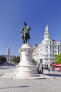 Dom Pedro IV Monument, Praca da Liberdade, Avenida dos Aliados, Porto (Oporto), Portugal, Europe