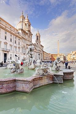 Fontana del Moro Fountain, Sant'Agnese in Agone Church, Piazza Navona, Rome, Lazio, Italy, Europe