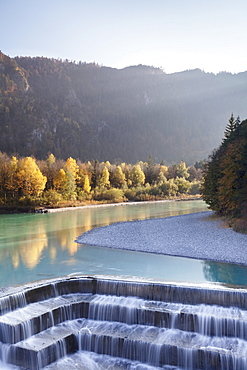 Lech River Waterfall in autumn, Fussen, Ostallgau, Allgau, Allgau Alps, Bavaria, Germany, Europe