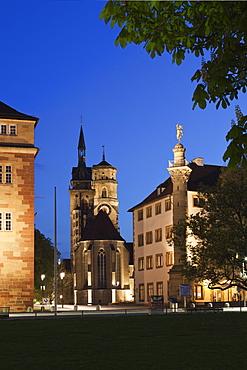 Stiftskirche church and Altes Schloss castle, Stuttgart, Baden Wurttemberg, Germany, Europe