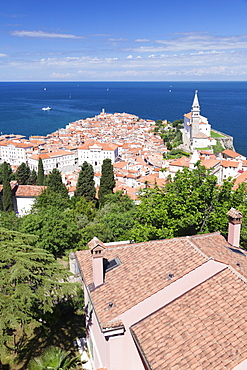 High angle view of the old town with Tartini Square, town hall and the cathedral of St. George, Piran, Istria, Slovenia, Europe