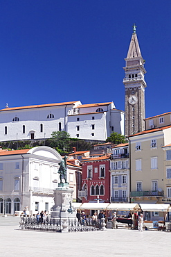 Old town with Tartini Square and the cathedral of St. George, Piran, Istria, Slovenia, Europe