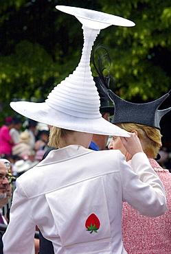 Race-goer wearing a hat like an upturned wine glass in true Ascot fashion at Ascot Races