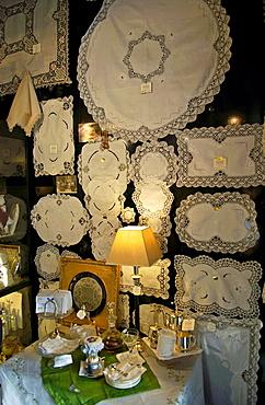 Display of white linen in draper's shop in Kloskanthuis, Ghent, Belgium