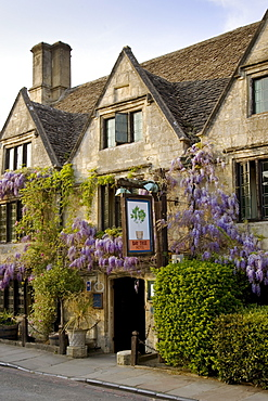 The Bay Tree Hotel covered in wisteria, Burford,The Cotswolds, United Kingdom