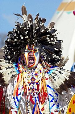 Canadian Plains Indians at cultural display at Wanuskewin Heritage Park in Saskatoon, Canada
