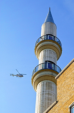 Police Helicopter Circling The Suleymaniye Mosque, A Turkish Islamic Cultural Centre In East London