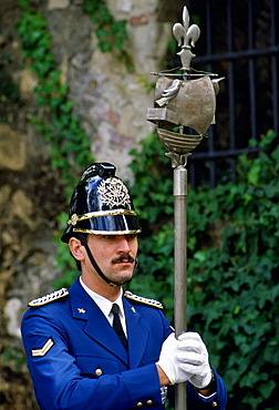 Policeman on ceremonial duty in Portugal.