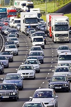 Traffic congestion cars and trucks in all carriageways on M25 motorway, London, United Kingdom
