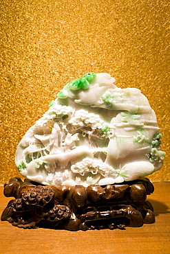 Spring Outting made of lavender jade on display in the Huahui Jade Factory and Showroom, Xian, China