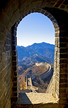 Watchtower arch of the Great Wall of China at Mutianyu, north of Beijing (formerly Peking), China