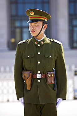 Army soldier outside Mao's Mausoleum, Tian'an Men Square, Beijing, China