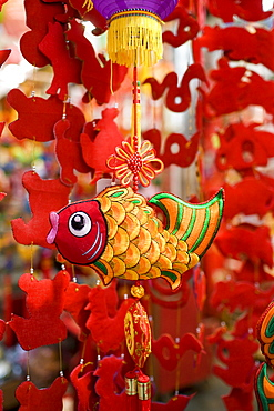 Hanging mobile ornaments on sale in traditional Graham Street market near Sheung Wan, Hong Kong, China