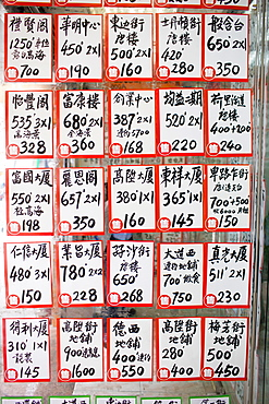 Property for Sale signs at S and B Properties agency in old Chinese district, Sheung Wan, Hong Kong Island, China