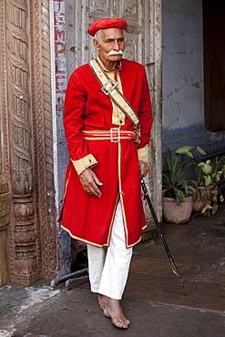 Hindu temple guard in holy city of Varanasi, Benares, India