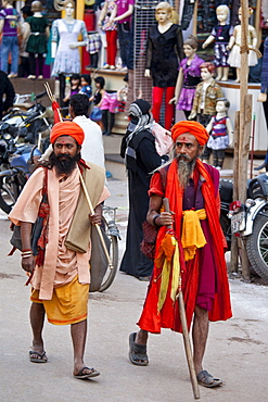 Hindu sadhu pilgrims at Festival of Shivaratri in holy city of Varanasi, Benares, India