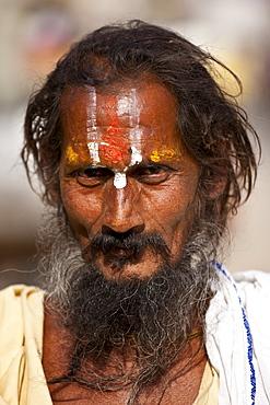 Hindu Sadhu holy man with traditional markings in street in Nandi near Varanasi, Benares, Northern India