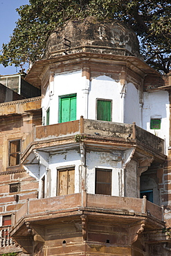 Indian architecture at Ranamahal Ghat by the Ganges River in City of Varanasi, Benares, Northern India