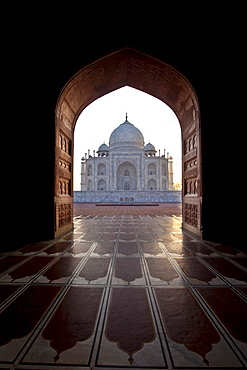 The Taj Mahal mausoleum western view (viewed from Taj Mahal Mosque with its prayer mat floor tiles) at dawn, Uttar Pradesh, India