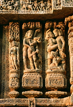 Erotic carvings on the Sun Temple at Karnak, India show men and women in sexual poses.