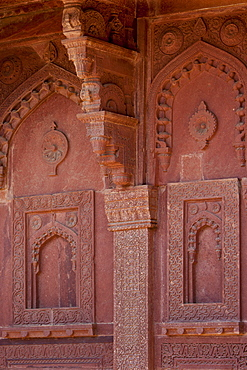 Northern Palace of the Haramsala, Birbal's House for the harem at Fatehpur Sikri historic city of the Mughals, at Agra, Northern India