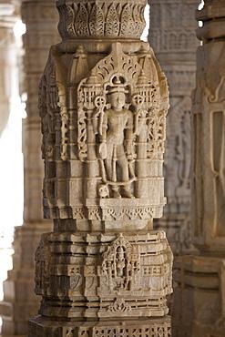 Stone carvings and marble pillars at The Ranakpur Jain Temple at Desuri Tehsil in Pali District of Rajasthan, Western India