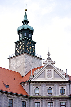 Brunnenhof Residence, Brunnenhof Residenz, with clocktower in old Munich, Bavaria, Germany