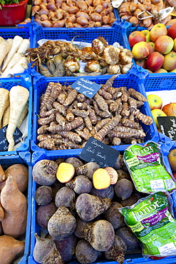 Fresh vegetables on sale at Viktualienmarkt food market in Munich, Bavaria, Germany