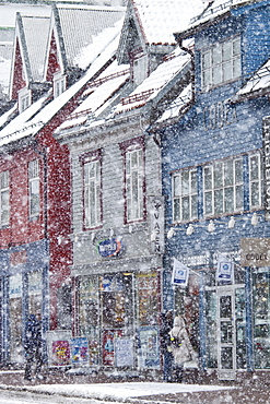 Shop fronts and street scene in the city of Tromso, in the Arctic Circle in Northern Norway