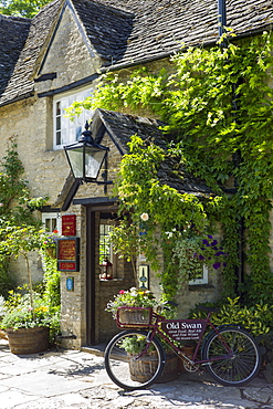 The Old Swan Hotel and Public House in Minster Lovell in The Cotswolds, Oxfordshire, UK