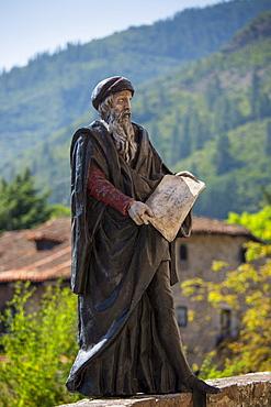 Statue of apostle on Pilgrim's Way at Potes in Picos de Europa, Asturias, Northern Spain