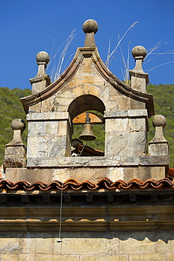 Bell tower at Cabazon de Liebana within the Picos de Europa mountains in Cantabria, Northern Spain