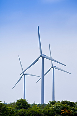 Three wind turbines at Airtricity, Richfield Wind Farm at Kilmore, County Wexford, Ireland