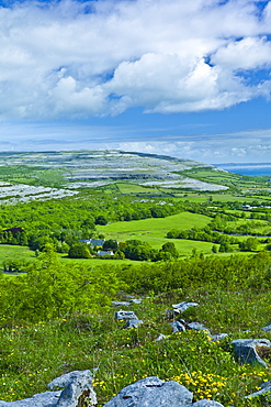 The Burren and Galway Bay from Corkscrew Hill, Cappanawalla left Finvarra Point right, County Clare, West of Ireland
