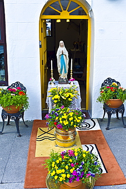 Shrine to the Blessed Virgin Mary for Catholic parade in Clifden, County Galway, Ireland