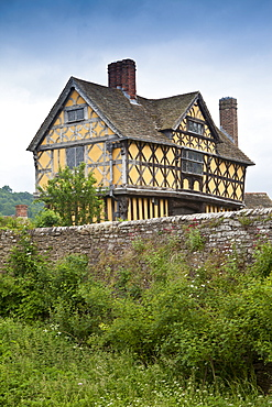 The timber-framed gatehouse of Stokesay Castle medieval manor, in Shropshire, England