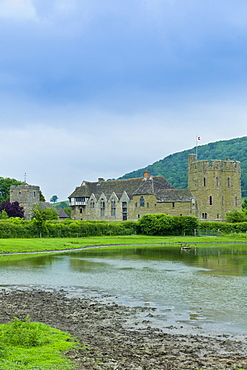 Stokesay Castle and church, fortified medieval manor with timber framed gatehouse, in Shropshire, England