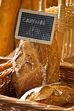 Fresh French bread, pain Campagne, on sale for 1 euro 70 at food market at La Reole in Bordeaux region of France