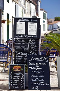 Pavement Cafe menu street scene in La Flotte, Ile de Re, France