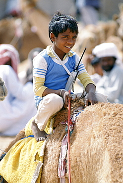 Boy jockey camel racing with walkie talkie radio early cellphone in Al Ain, Abu Dhabi, United Arab Emirates, Middle East