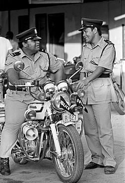 Policemen on duty in Nauru, South Pacific