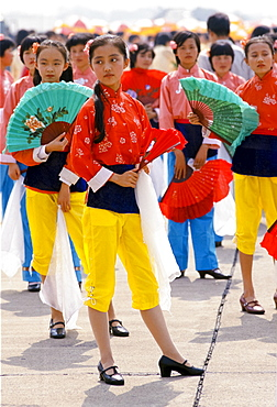 Chinese traditional dancers with fans in Shanghai, China