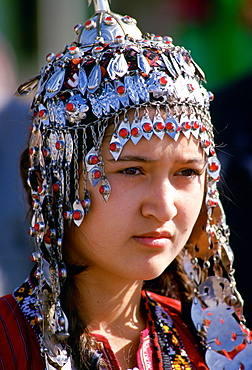 A young girl wearing traditional costume, Mary , Turkmenistan