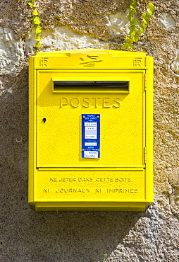 Traditional letter box at Parnay in the Loire Valley, France