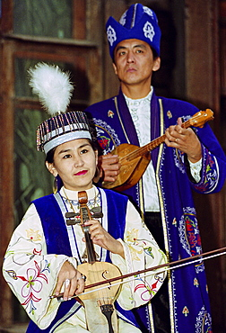 Musicians entertaining at a traditional cultural performance in Almaty, Kazakstan