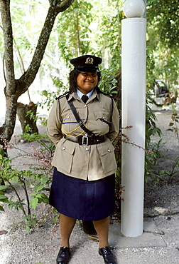 Policewoman in Nauru in the South Pacific