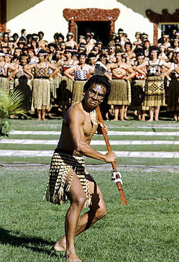 Maori warrior at a tribal gathering in New Zealand
