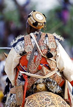 Nigerian chief at tribal gathering durbar cultural event at Maiduguri in Nigeria, West Africa
