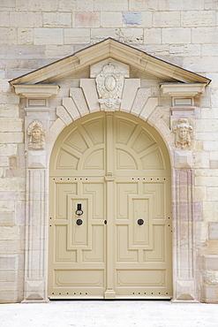 Traditional doorway of the Ducal Palace (Palais des Ducs et des Etats de Bourgogne), Dijon in the Burgundy region, France, Europe