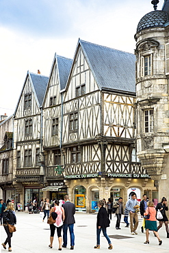 Traditional timber-frame Tudor style buildings in Rue de la Liberte in medieval Dijon in Burgundy region, France, Europe